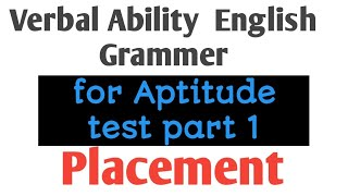 Verbal Ability full Concept  in Hindi  for Aptitude part 1    Job Placement and Government Jobs