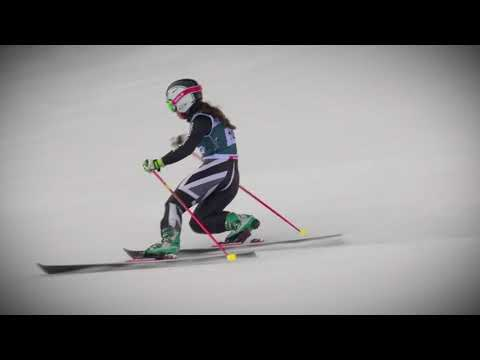 Meidjo 2.1 telemark binding on the race with Jasmin Taylor