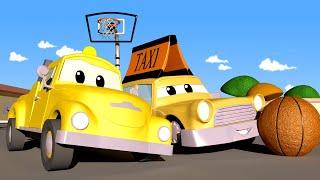 Odtahové auto pro děti - Malý taxík Jeremy narazí do basketbalového koše Odtahové auto Tom