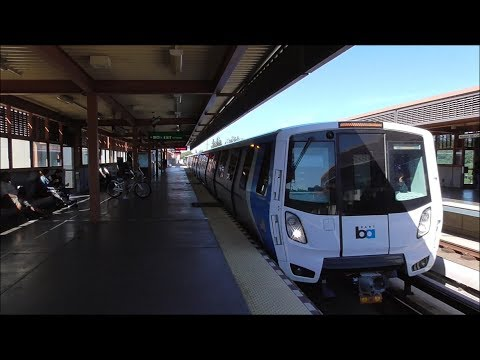 BART: Fleet Of The Future Train Arriving And Departing Pleasant Hill