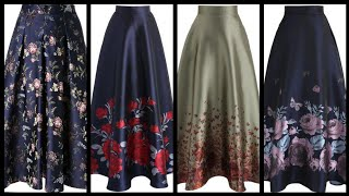 Stylish Floral Border Printed Formal Skirts Design To Wear With Blouses And Tops