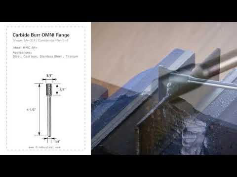 FindbuyTool Carbide Burr Sa-3l4 Cilindro Planície Cilindro Omni Range Head D 3/8 x 3 / 4L, 1/4 haste, 4-1 / 3 polegadas de comprimento total