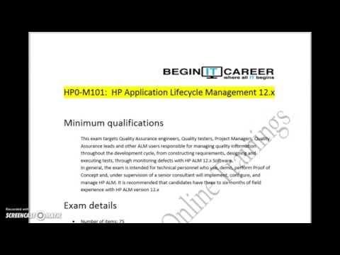 HP QC Certification HP0-M101 ALM software 12.X AIS Exam ...