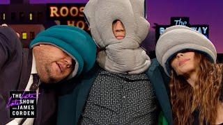 Miles Teller & Whitney Cummings Try Ostrich Pillows