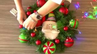 Making an informal, fun, kiddie theme Christmas Wreath