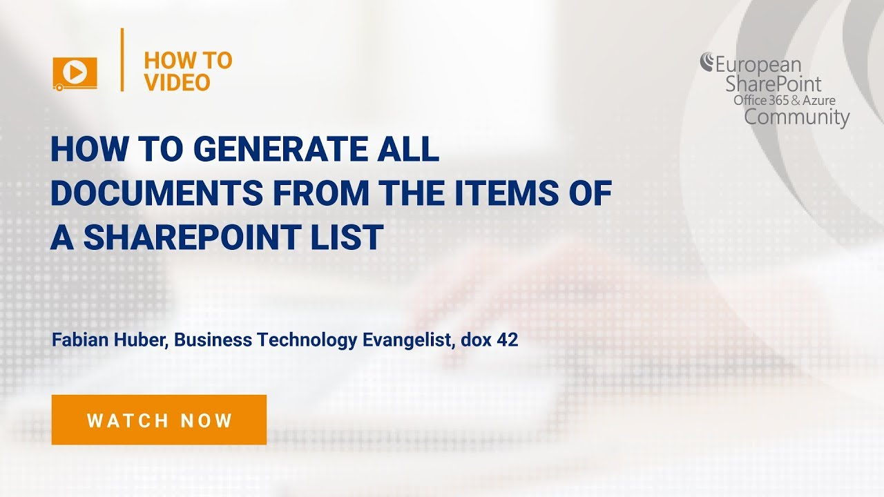 How To Generate all Documents from the Items of a SharePoint List