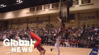 College Basketball Player Gets Obliterated By Backboard, Still Makes Incredible Block