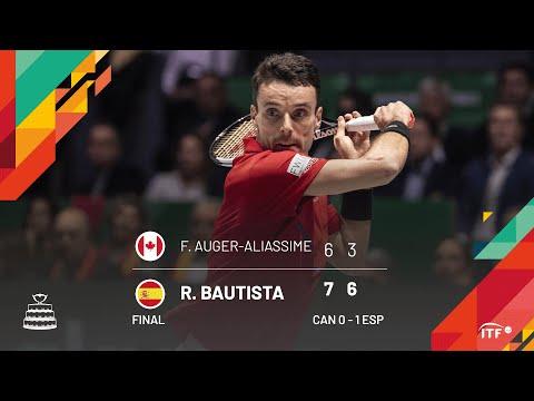 Auger Aliassime v Bautista Agut / Spain v Canada Final Match 1 Highlights