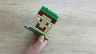 Подставка для карандашей с лицами героев Майнкрафт/Minecraft из Лего.