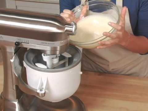 Video KitchenAid Stand Mixer Ice Cream Maker Attachment
