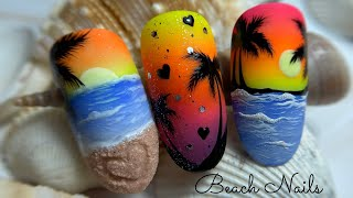 Beach Nail| Sunset Nail Art| Palm Tree Nail Art| Summer Nail| Ughie Estive|Морской Дизайн Ногтей