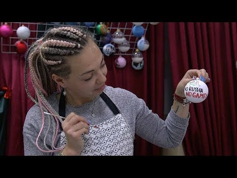Handmade Christmas baubles reference Russia's 2018 Winter Olympics ban