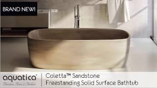 Coletta™ Sandstone Freestanding Solid Surface Bathtub by Aquatica - Infomercial