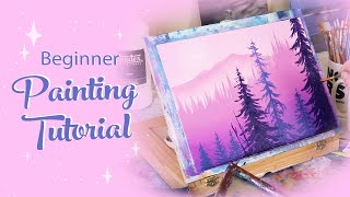 Acrylic Painting Tutorial - Pink Landscape (Beginner)
