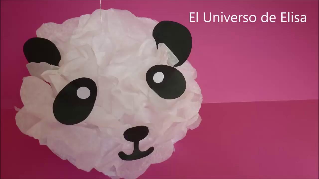 Decoración Oso Panda, Decoración Fácil y Económica para Cumpleaños, Cómo Hacer un Pompón Oso Panda