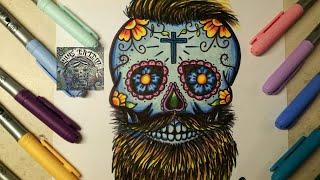 COMO DIBUJAR UNA CALAVERA DE DULCE HIPSTER / How To Draw Mexican Skull
