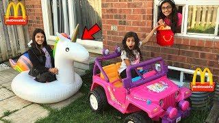 McDonalds Drive Thru Prank! inflatable Power Wheels Ride On Car Kids Pretend Play