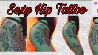 #thightattoo #tattoo #sexytattoo Sexy Hip Tattoo Ideas / Pointillism Rose Tattoo | Clitche TV