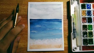 Easy Watercolor Beach Painting Tutorial For Beginners | Step-by-Step