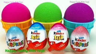 Kinetic Sand Ice Cream Cups Kinder Eggs Kinder Joy Surprise Toys