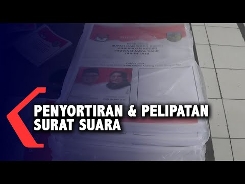kpu kabupaten kediri lakukan penyortiran dan pelipatan surat suara