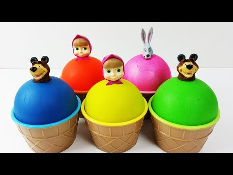 Learn Colors Play Doh Mashsa And The Bear Ice Cream Finger Family Nursery Rhymes Song  Surprise Eggs