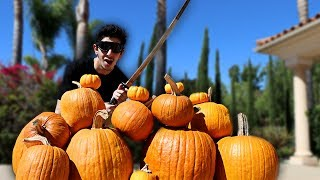 REAL LIFE FRUIT NINJA VS PUMPKINS!! *GONE WRONG*
