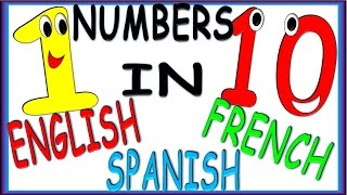 Numbers from 1 to 10 in English, Spanish and French for Children  Numeros en Ingles, Español y Franc