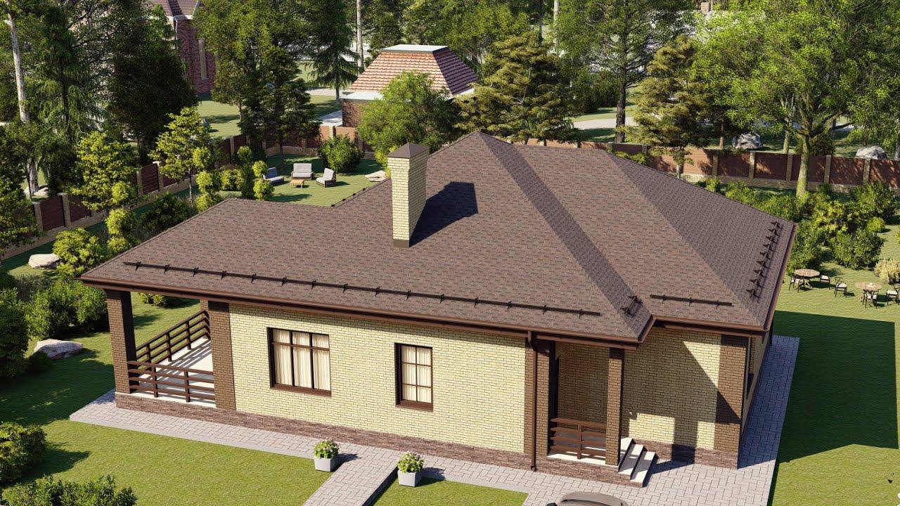 Одноэтажный дом из газобетона с террасой