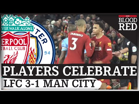 Liverpool Players Celebrate Man City Win In Front of Kop