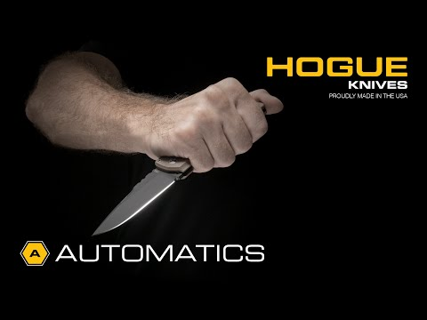 "Hogue Knives EX-A04 Wharncliffe Automatic Knife Matte Black (3.5"" Tumbled)"