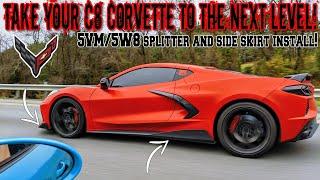 Make Your C8 Corvette Look Like A SUPERCAR! 5W8 Side Skirt And Splitter Install! 😲