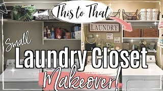 SMALL LAUNDRY ROOM MAKEOVER :: CLEAN & ORGANIZE WITH ME 2019 :: CHEAP LAUNDRY ORGANIZATION IDEAS