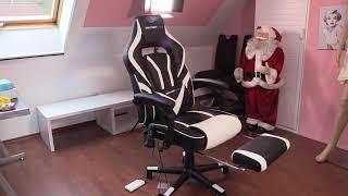 Gaming Stuhl - SOUTHERN WOLF Gaming Stuhl mit Bluetooth Lautsprecher Massagefunktion und Fußstützen