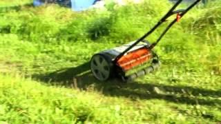 Механическая газонокосилка видео