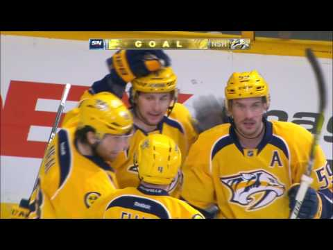 Forsberg records a hat trick against the Flames in less than ten minutes
