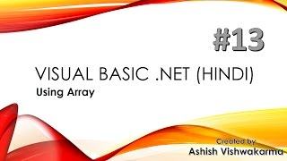 Using Array in Visual Basic .NET in Hindi