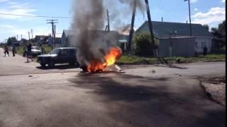 Карсун мотоцикл горит после ДТП