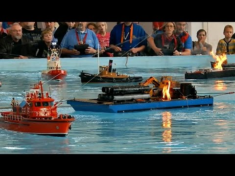 FIRE & EXPLOSION ON THE WATER MANY RC SCALE MODEL SHIPS COME TO RESCUE / Faszination Modellbau 2015