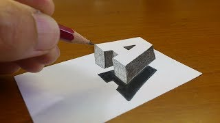 """Very Easy!! How To Drawing 3D Floating Letter """"A"""" #2  - Anamorphic Illusion - 3D Trick Art on paper"""