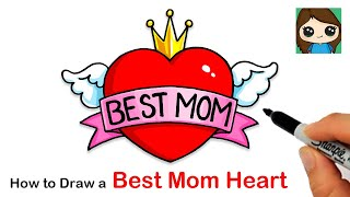 How to Draw BEST MOM Heart with Wings ❤️| Mother's Day Art