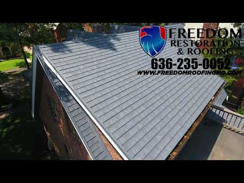 Check out this amazing before and after video. We tore off the old slate roof and installed a Certainteed Matterhorn Metal Roof. We also installed all new plywood on the project.