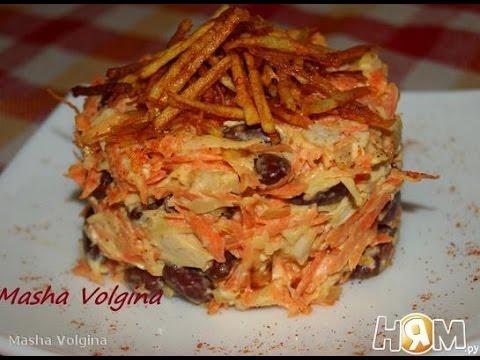 Салат с курицей и фасолью  Рецепт салата