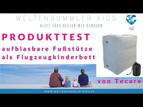 Produkttest - aufblasbare Fußstütze // Kinderbett im Flieger
