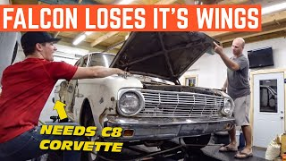 DROPPING A 62 Ford Falcon Front Clip During C8 Corvette REVEAL