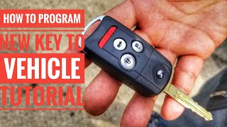 HOW TO PROGRAM A CAR KEY TO YOUR VEHICLE QUICK AND EASY TUTORIAL HONDA ACURA AUTEL MK808