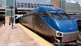 Amtrak Northeast Regional Train With Double HHP-8s - Trenton Station
