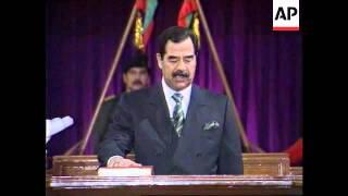 Iraq - Saddam Hussein Sworn In For 7 More Years