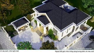 Thiết kế Biệt Thự trệt mái ngói đẹp hài hòa với thiên nhiên