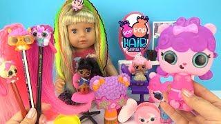 София делает куклам ЛОЛ МОДНЫЕ ПРИЧЕСКИ с ПИТОМЦАМИ Игровой набор POP POP HAIR SURPRISE